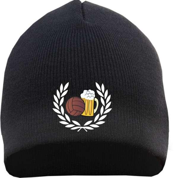 Beanie Mütze - Lorbeerkranz Fussball Bier - Schwarz