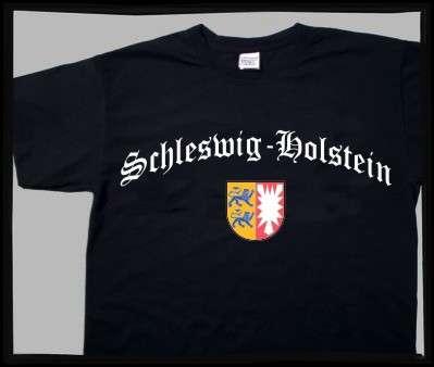 Bundesland: SCHLESWIG-HOLSTEIN T-Shirt + schwarz mit Wappen