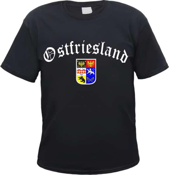 OSTFRIESLAND T-Shirt Schwarz - Altdeutsch/Wappen - S bis 3XL - emden aurich leer
