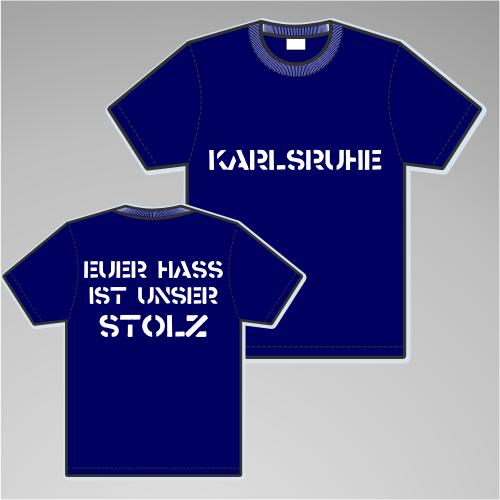 KARLSRUHE T-Shirt + EUER HASS + blau/weiss