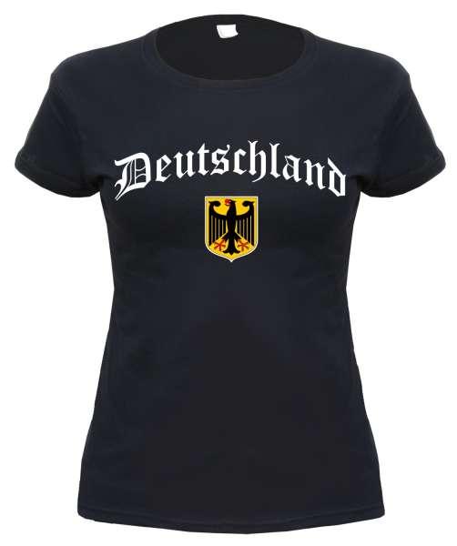 Deutschland Damen T-Shirt - Altdeutsch mit Wappen - Schwarz
