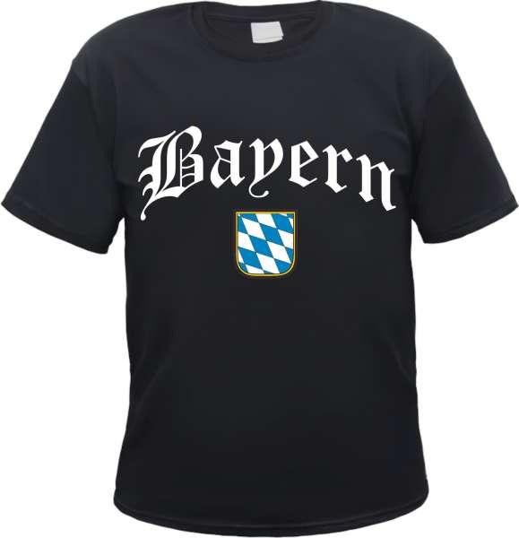 Bundesland: BAYERN T-Shirt + schwarz mit Wappen
