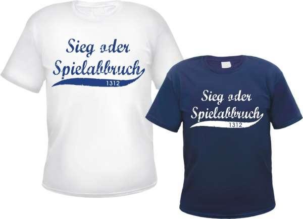 Sieg oder Spielabbruch T-Shirt - Oldschool 1312 - Weiss oder Blau