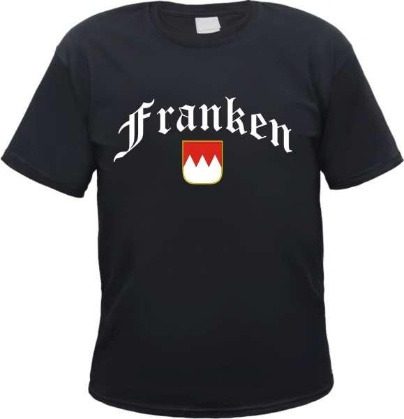 Franken T-Shirt - Altdeutsch mit Wappen - Schwarz