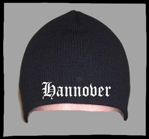HANNOVER Beanie / Strickmütze + schwarz + bestickt