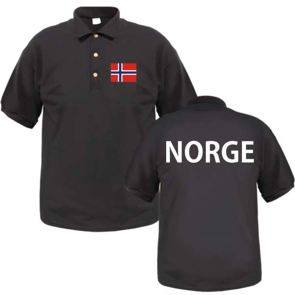 NORGE / NORWEGEN Poloshirt + schwarz mit Flagge