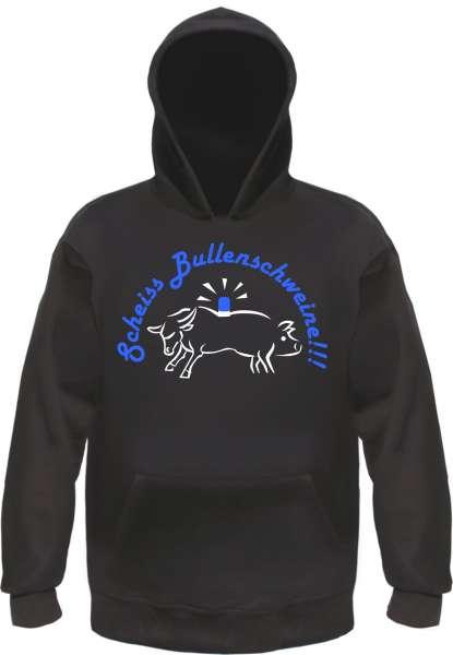 Scheiss Bullen-Schweine Sweatshirt + schwarz/blau-weiss