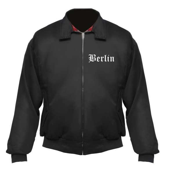 BERLIN Harrington Jacke + schwarz + bestickt