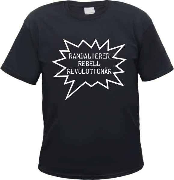 Randalierer Rebell Revolutionär T-Shirt +++ schwarz/weiss-rot