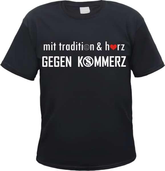 mit tradition & herz GEGEN KOMMERZ T-Shirt +++ schwarz/weiss/rot