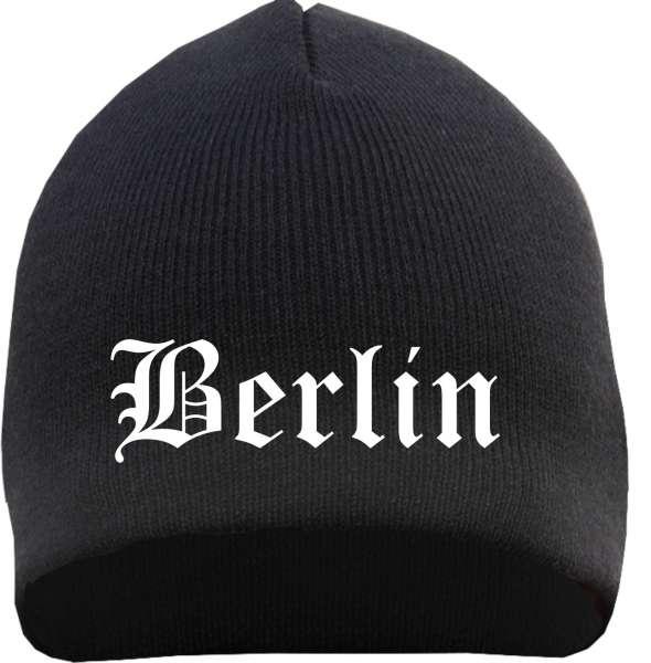 BERLIN Beanie / Strickmütze + schwarz + bestickt