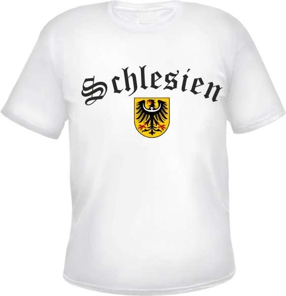 SCHLESIEN T-Shirt + Schwarz / Altdeutsch / Wappen