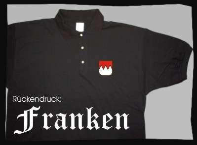 FRANKEN Poloshirt + schwarz mit Wappen