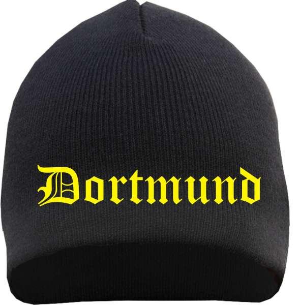 DORTMUND Beanie / Strickmütze + schwarz + bestickt