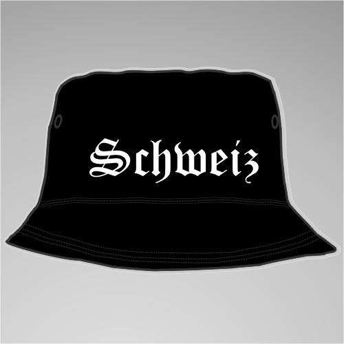 Schweiz Fischer-Hut +++ schwarz/weiss