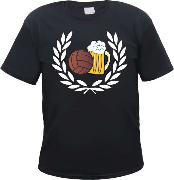 Lorbeerkranz Fussball Bier T-Shirt - Schwarz oder Weiss