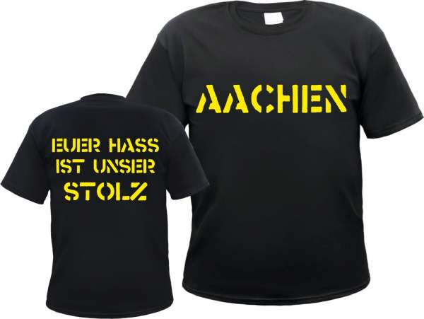 AACHEN T-Shirt + EUER HASS + schwarz/gelb