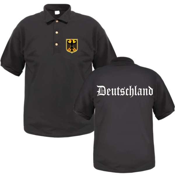 Deutschland Poloshirt - Altdeutsch / Wappen - Schwarz