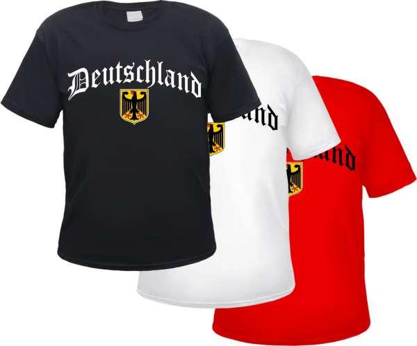Deutschland T-Shirt - Altdeutsch mit Wappen - Versch. Farben