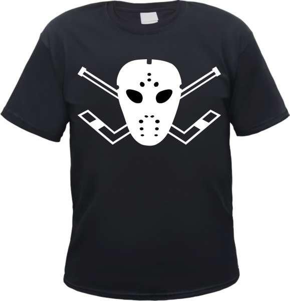 Eishockey T-Shirt - Maske - Mit Nackendruck - Schwarz