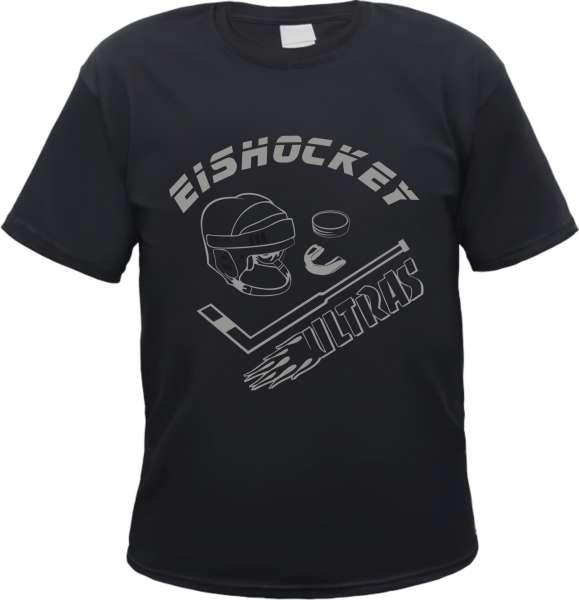 Eishockey Ultras T-Shirt + schwarz/silber