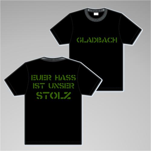 GLADBACH T-Shirt + EUER HASS + schwarz/grün
