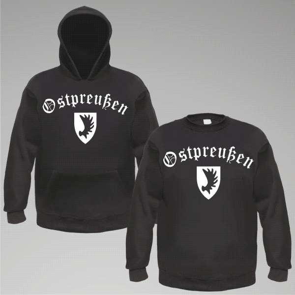 OSTPREUSSEN Sweatshirt oder Hoodie + Schwarz / Altdeutsch / Wapp