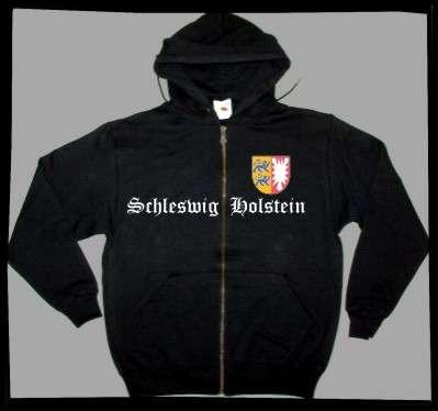 Bundesland: SCHLESWIG-HOLSTEIN Kapuzenjacke + schwarz mit Wappen