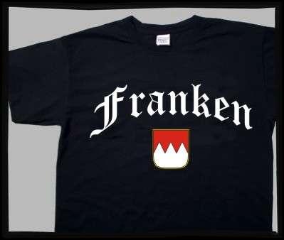 FRANKEN T-Shirt + schwarz mit Wappen