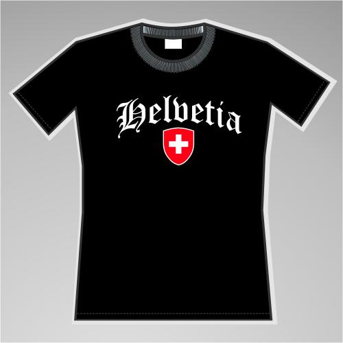 Helvetia Mädels-Shirt mit Wappen +++ schwarz