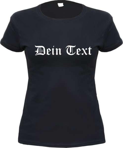 Individuelles Damen T-Shirt - Wunschtext Gerade - Schwarz