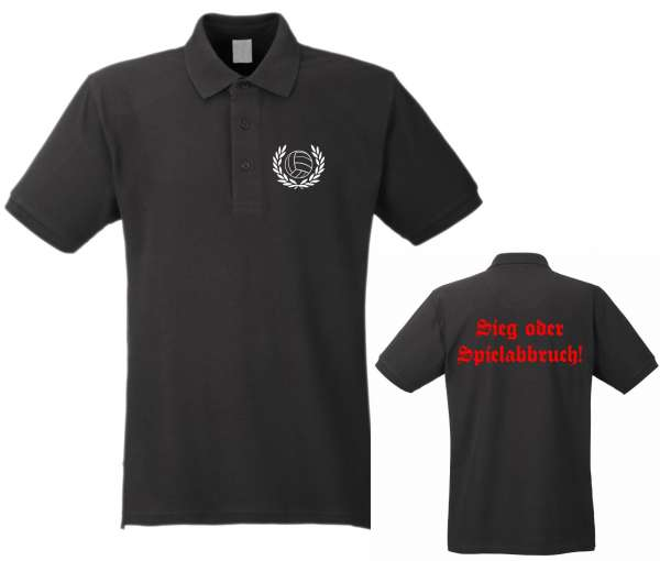 Sieg oder Spielabbruch! Poloshirt Lorbeerkranz / Altdeutsch