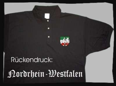 Bundesland: NORDRHEIN-WESTFALEN Poloshirt + schwarz mit Wappen
