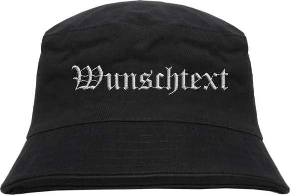 Fischerhut - Bucket Hat mit Wunschtext - Altdeutsch - bestickt -