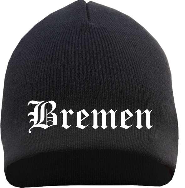 BREMEN Beanie / Strickmütze + schwarz + bestickt