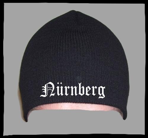 NÜRNBERG Beanie / Strickmütze + schwarz + bestickt