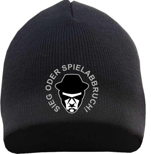 Sieg oder Spielabbruch! Strickmütze mit Logo + schwarz