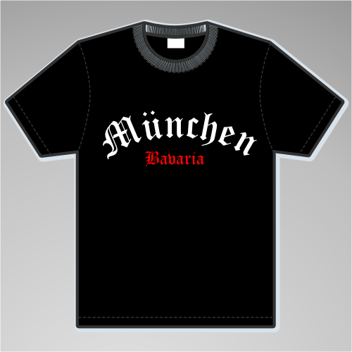 MÜNCHEN T-Shirt + Halbkreis + schwarz/weiss-rot