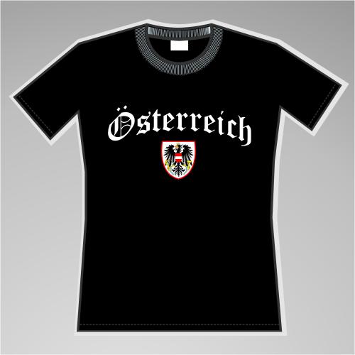 Österreich Mädels-Shirt mit Wappen +++ schwarz