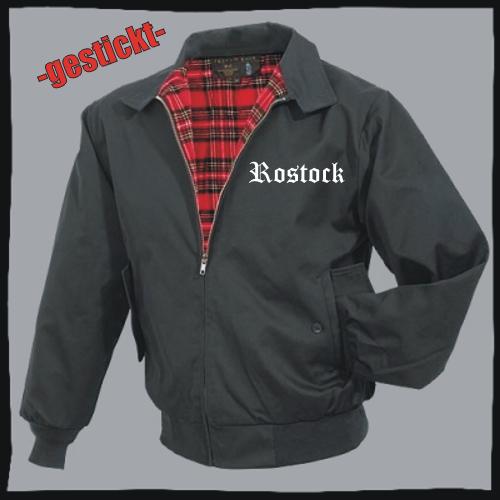ROSTOCK Harrington Jacke + schwarz + bestickt