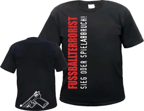 Fussballterrorist T-Shirt mit Knarre + schwarz/weiss/rot