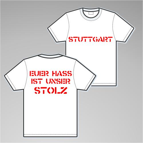 STUTTGART T-Shirt + EUER HASS + weiss/rot