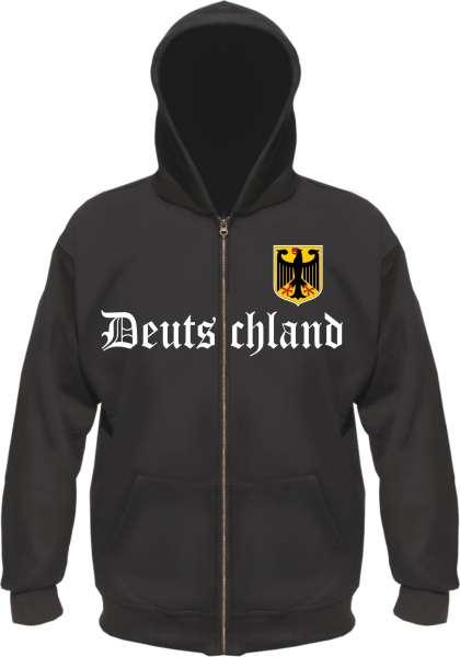 Deutschland Kapuzenjacke - Altdeutsch mit Wappen - Schwarz
