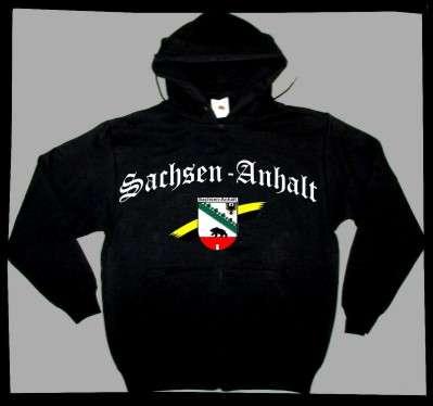 Bundesland: SACHSEN-ANHALT Sweatshirt + schwarz mit Wappen
