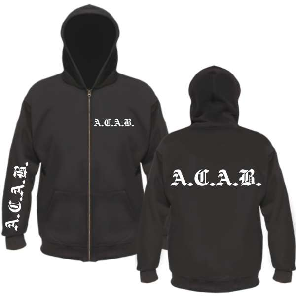 A.C.A.B. Kapuzenjacke + Brust-Rücken-Ärmel + schwarz/weiss