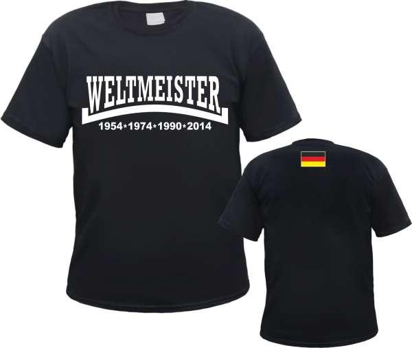Weltmeister 2014 T-Shirt - Mit Linie und Flagge - Schwarz