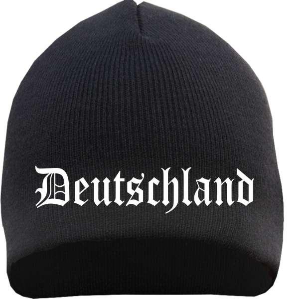 Deutschland Beanie - Altdeutsch Bestickt - Strickmütze
