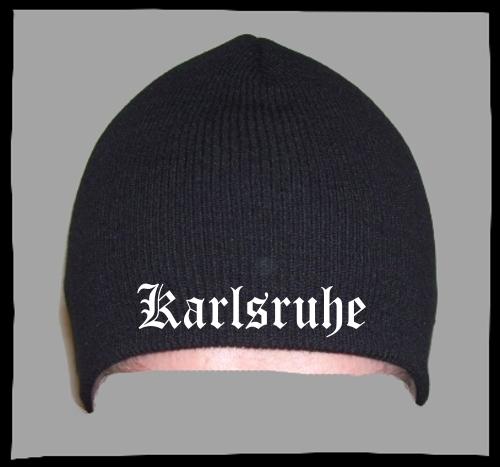 KARLSRUHE Beanie / Strickmütze + schwarz + bestickt