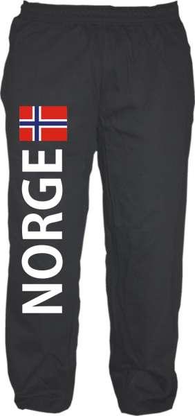NORGE Jogginghose - Schwarz mit Flagge - Norwegen