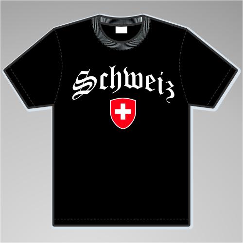 Schweiz T-Shirt mit Wappen +++ schwarz